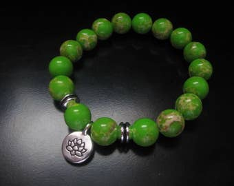 Green Jasper Lotus Charm Bracelet, Chartreuse Impression Jasper Stretch Bracelet, Lotus Bracelet, Green Bracelet, Impression Jasper Jewelry