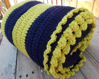 "Navy Blue and Lime Green Afghan  ~  51"" x 60"" Crocheted Afghan  ~   Crocheted Afghan"