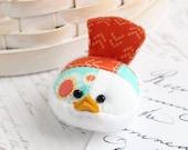 Orange and Aqua Bird Pincushion Floral Pin Keep Small Pin Cushion Handmade Pincushion