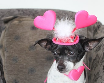 Cute valentine  hat for dog or cat with  hearts  and white feather