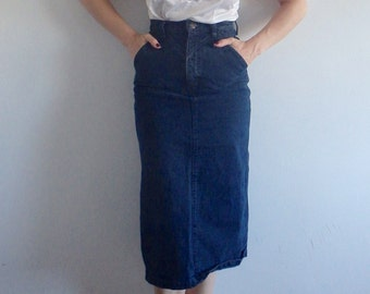 Denim Skirt Vintage Black Wrangler Pencil Skirt
