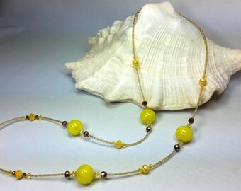 Murano glass Necklace Yellow color