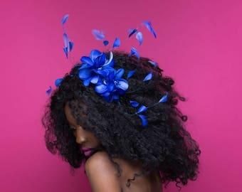 Royal Blue Headband, Flower Headpiece, Summer Accessories, Flower Crown, Blue Bridal Headpiece, Bridesmaid Accessories, Vacation Wear