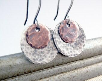 Silver Dangle Earrings, Nickel Free Earrings, Hammered Earrings, Nickel Free Jewelry, Silver Drop Earrings, Cool Jewelry, Circle Earrings