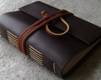 "Handmade rustic leather journal, 4"" x 6"", dark brown diary, old world journal, (2413)"