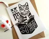 Cat in a Box Greeting Card, If I Fits, I sits Card, Cat Card, Cat notelet, From Linocut Design, Funny Card, Funny Animals