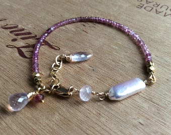 Shaded Pink Tourmaline Gemstone Bracelet with Rose Quartz Accents in 14k Gold Filled
