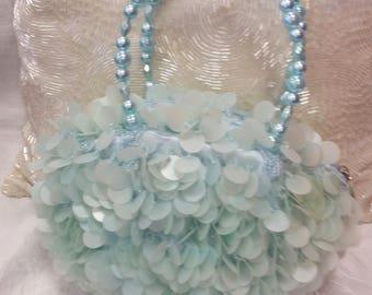 mermaid bag, blue sequin bag, 90s does 60s, 60s costume, sea colour bag, aqua purse, aqua sequins, green sea purse