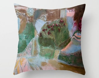 Art pillow cover, pillow case, decorative throw pillow, spun poplin, floral cushion case, pillow painting landscape