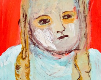 Fine Art Print, Giclee Art, from painting, modern wall art red turquoise, face girl Sinforosa by Ana Gonzalez