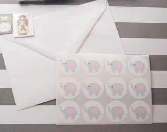 Elephant Gray Pink Stickers Envelope Seals Favor Stickers Birthday Stickers - SES369