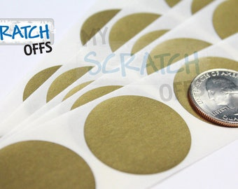 Scratch Off Round Label 50 Gold 1.25 inch Circle scratch-off labels stickers for games and promotions