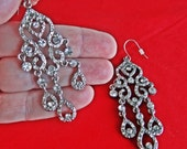 """STUNNING Vintage silver tone pierced 2.5"""" dangle earrings with sparkly rhinestones  in great condition, appears unworn"""