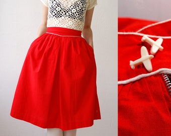 40s skirt. high waist red cotton skirt with airplane buttons. full skirt with pockets. WWII skirt - xs