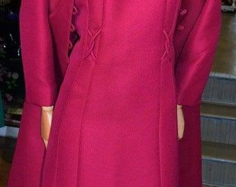 1960's Cerise Suit Coat & Dress UK 14-16