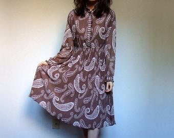 70s Secretary Dress Brown Dress Vintage Plus Size Dress Sheer Dress Boho Dress 70s Paisley Dress Hippie XXL 2XL