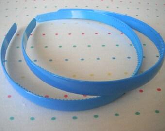 "Azure Blue Pair of Plastic Headbands, 1/2"" Wide"