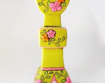 Mod Floral Candlestick Holder, 1960's Japan Day Glo