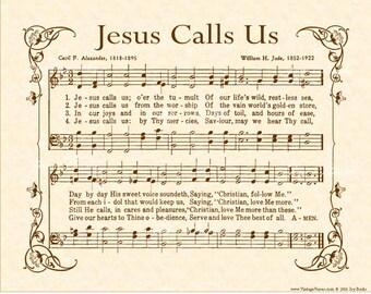 JESUS CALLS US - Hymn Wall Art- Custom Christian Home Decor - Vintage Verses Sheet Music - Inspirational Wall Art 8x10 Parchment Sepia Brown