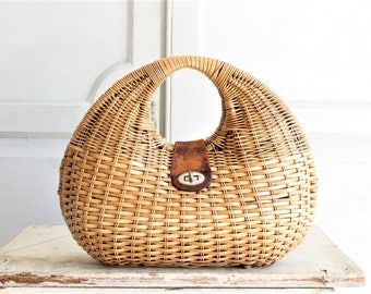 60s vintage wicker basket bag