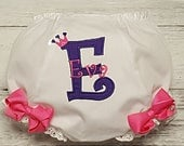 Princess Pink & Purple Birthday Crown Applique Personalized Diaper Cover Infant Toddler Bloomers