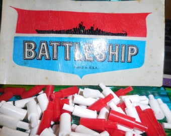 Vintage Battleship game Board Ships and Red and White Place Markers