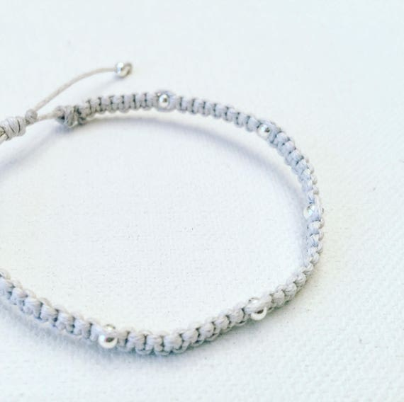 Macrame Grey Cotton & Silver Adjustable Bracelet
