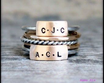 Hand Stamped Stacking Ring, Stackable Name Ring, Personalized Stacking Ring, Mixed Metal Ring, Name Ring, Mothers Stackable Ring, Mama Mia,