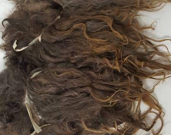 "Suri Alpaca Locks, 10"" Natural Dark Gray Locks,  Long Locks, Doll Hair, Dark Silver Grey, Wig Making"