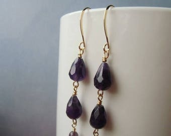 January sale Amethyst gemstone, dangle earrings, gold plated. 4 cm / 1.57'' in
