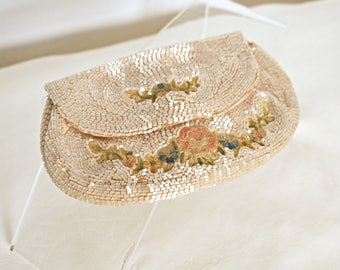 1930's French Beaded Purse Small Vintage Purse Ribbon Embroidered