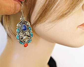 Boho Tibetan Earrings Large Dangle Gypsy Hippie Tribal Jewelry Boho Statement