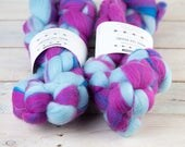 "Australian Merino Wool Top Roving | ""Cheer Camp"" | 4 oz | Fuchsia, Royal Blue & Sky Blue | 20 micron | Superfine"
