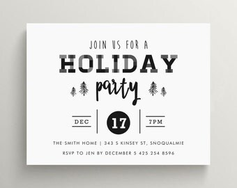 plaid holiday party invitation // christmas party // open house // xmas // black and white // modern // hipster // tree // bold //