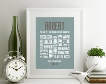 Retirement Customized Typography Print 8x10 Word Art Retirement Gift
