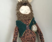 Cloth doll, rabbit, A rather dapper 'Alice Rabbit' with hand embroiderd pocket watch and pure wool waistcoat and body from wool blend