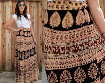 Vintage 70s INDIAN COTTON Maxi Wrap Skirt M L