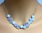 Blue Lace Agate and Blue Calcedony Necklace in Sterling Silver