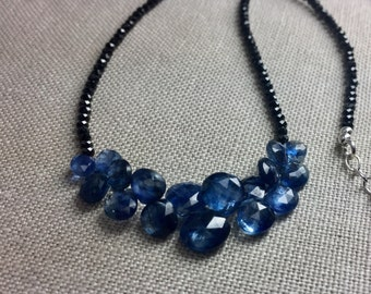 Black Spinel Necklace with Kyanite Briolettes in Sterling Silver