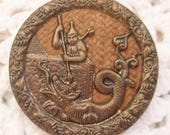 Antique Chinese Man with Dragon BUTTON Slaying the Beast  Pictorial Victorian Vintage Clothing Collectible