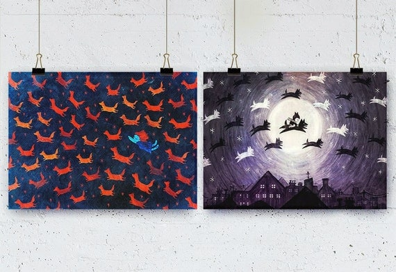 Set of 2 Posters - Foxes & Wolves