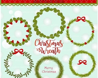 ON SALE Christmas clip art, Christmas wreath clip art, christmas frame clip art, Christmas Wreaths clip art, instant download