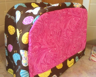 Pink and Brown Easter Eggs Chicks 2 Slice Toaster Cover Ready To Ship