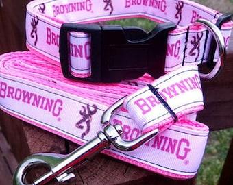 pink browning dog collar & or leash on pink webbing