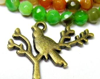 10 bronze bird charms jewelry supplies earring dangles bracelet charms animal pendants nickel safe lead safe 26mm x 18mm Bus(BB4)