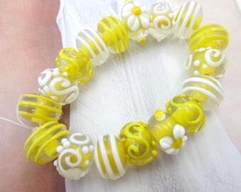 Lampwork glass beads 17 yellow 8mm x 10mm handmade beads applied flowers swirls dots jewelry beading supply lemon yellow beads (SB2)