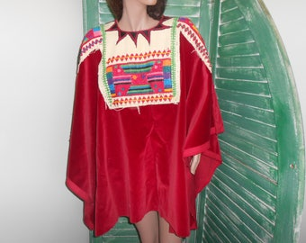 Red Huipil Poncho - Unfinished