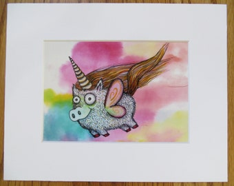 Pigicorn Matted Print of Painting by Kelly Green H-Baum Pigs Fly Pig Unicorn White Pink