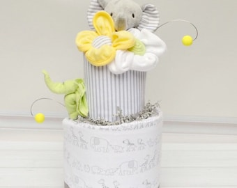 Elephant Baby Shower - Baby Shower Gift - Elephant Diaper Cake - Gray and White - New Baby Gift - Shower Decorations