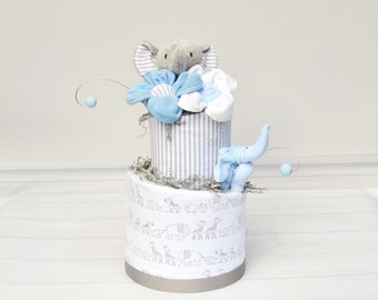 Elephant Shower Boy, Elephant Shower Cake,  Elephant Baby Shower Gift, Cake Table Decor, Gray Diaper Cake for Boys, Blue Elephant Theme